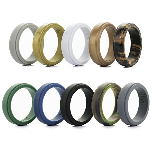 Silicone Wedding Ring for Men - 10 Pack Rubber Wedding Ring - The Ultimate Silicone Wedding Band Rubber Wedding Ring Set (Step Edge, 9)]()