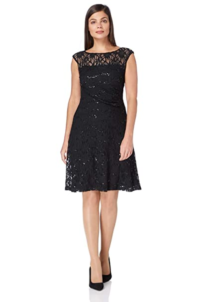 3aabe9db62b0a Roman Originals Women s Lace Fit and Flare Skater Sequin Embellished Dress  - Ladies Flattering Going Out