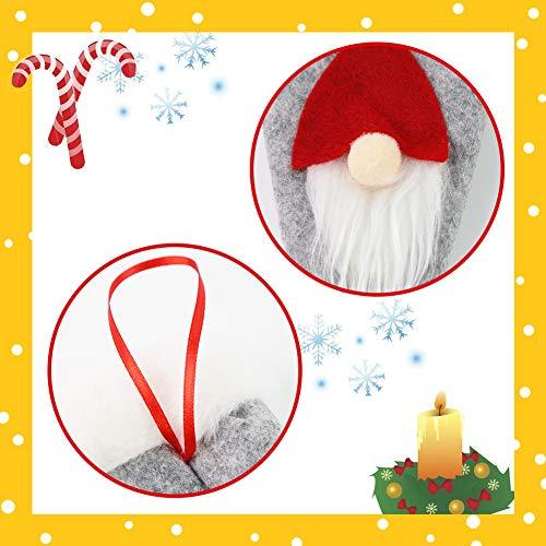 HANSGO Gnome Plush Santa Hat Cup Bottles Cover, 6PCS 7inch Xmas Santa Hats Silverware Holders, Christmas Tree Hanging Decoration