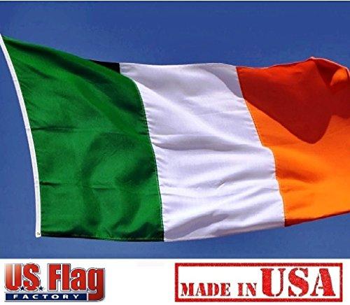 US Flag Factory 2'x3' Ireland Irish Flag (Sewn Stripes) Outdoor SolarMax Nylon - Made in America - Premium Quality -