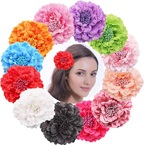 DED 12PCS Chiffon Flower Hair Bows Clips Peony Flower Brooch For Women girl Beach Party Wedding Event Decoration (Hair Flower Clips)