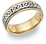 Celtic Design Wedding Band Ring in 14K Two-Tone Gold
