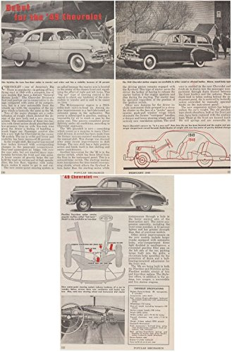 1949 CHEVROLET FULL-LINE POPULAR MECHANICS VINTAGE ORIGINAL NON-COLOR ARTICLE 3 PAGES - USA - - Chevrolet Line Full
