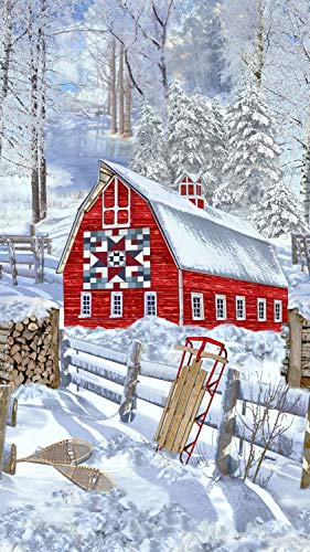 - Snow Country Barn Quilt Panel from Timeless Treasures 100% Cotton Fabric C5162 Snow 24