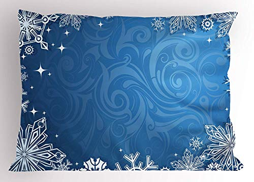 Ustcyla Snowflake Pillow Sham, Christmas Season Frame with Swirled Background Abstract Symmetrical Elements, Decorative Standard Queen Size Printed Pillowcase, 30 X 20 inches, Blue ()