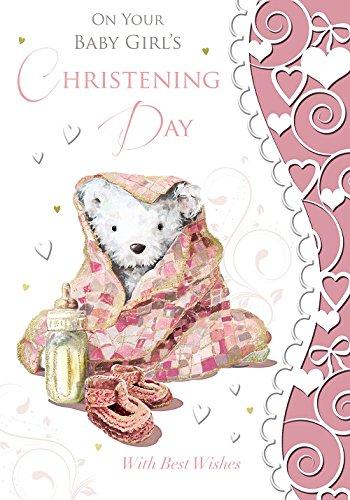 Bebé niña bautizo Tarjeta de felicitación - gris oso ...