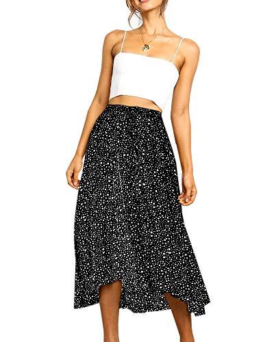 Geckatte Womens Leopard Skirts Casual Pleated Drawstring High Waist Flowy Long Maxi Skirt (Medium, Z2-Black)