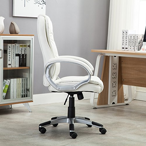 Belleze Ergonomic Office PU Leather Chair Executive Computer Hydraulic, White by Belleze (Image #5)