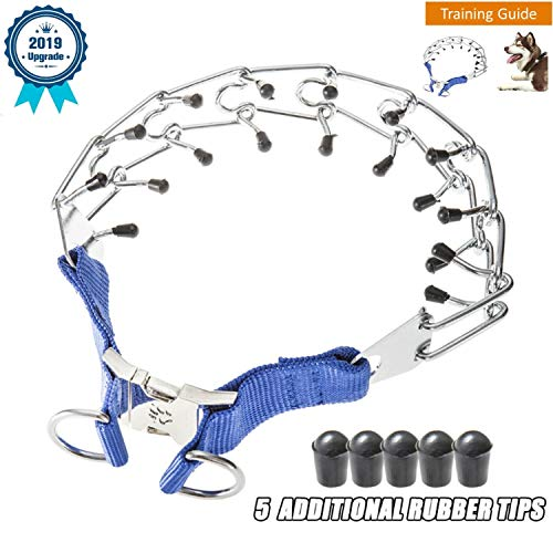 (Deyace Dog Prong Collar, Professional Dog Pinch Training Collar, Stainless Steel Choke Pinch Dog Collar with Comfort Rubber Tips, Adjustable Size and Quick Release Buckle)