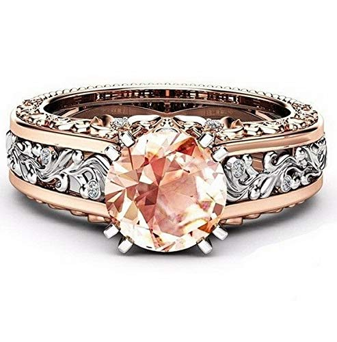 Dokis 18K Rose Gold Fil Jewelry White Topaz Woman Man Gift Flower Wedding Ring | Model RNG - 16622 | 9