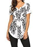 Women's Paisley PrinSummer Tops For Women, Ladies Henley V Neck Short Sleeve Casual Loose Fitting Tunic Shirt Black,L