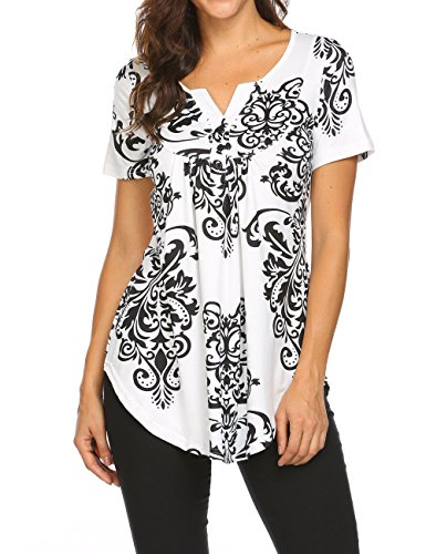 Work Shirts,Women's V Neck Short Sleeve Summer Casual Pleated Henley T-Shirt Tops Black,XL (Peasant Blouse)