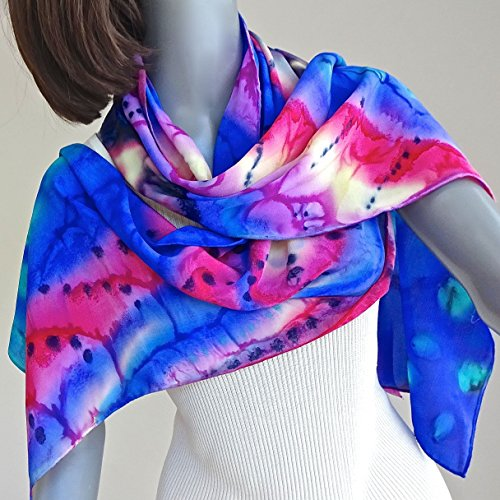 (Multicolor Crepe Silk Scarf, Hand Painted Silk, Rainbow Abstract Design, One of a Kind Signed Original by Jossiani)