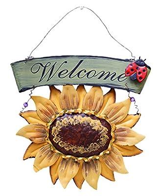 D-Foxes Vintage Metal Hanging Ladybird Sunflower Welcome Sign Wall Art Yard Outdoor Patio Fence Door Decor