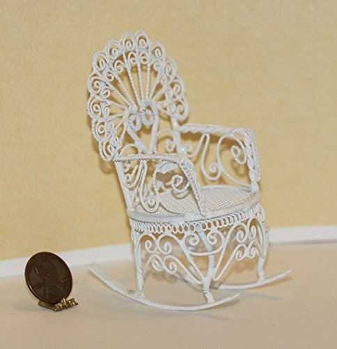 Wire Dollhouse White Miniature Victorian - Dollhouse Miniature Victorian Rocking Chair in White Wire