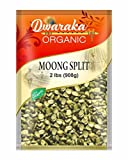 Dwaraka Organic Moong Bean Wash Split Dal with Skin Lentil USDA Organic (2 lbs / 908 g)