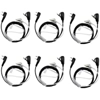 Tenq 2-pin Covert Acoustic Tube Earpiece Headset for Kenwood Puxing Wouxun Baofeng Two Way Radio 2pin(6 Pack)
