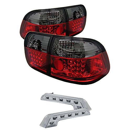 Xtune Tail Lights for Civic 4Dr LED Red Smoke 00 Honda Civic 4dr Tail