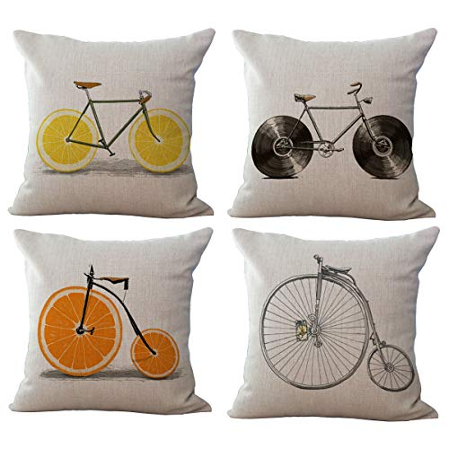 ChezMax Set of 4 Linen Cotton Office Chair Seat Cushion for Sofa Couch Throw Pillow Bikes 18 X 18