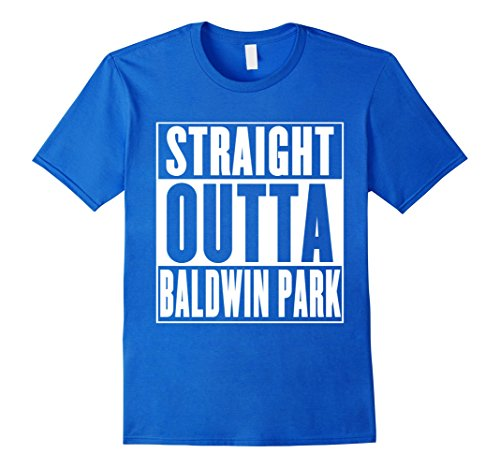 Mens Straight Outta Baldwin Park T-Shirt Large Royal Blue