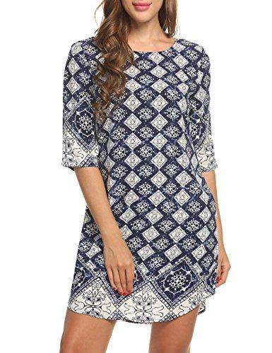 ACEVOG Women's Bohemian Vintage Printed Ethnic Style Loose Casual Tunic Dress (Dark Brown L)