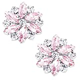 LUXVEER Removable Sparkle Rhinestone Flower Clips for Wedding Prom Shoes (Pink)-2 Pack