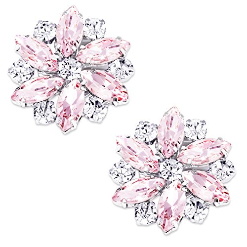 LUXVEER Removable Sparkle Rhinestone Flower Clips for Wedding Prom Shoes (Pink)-2 Pack by LUXVEER
