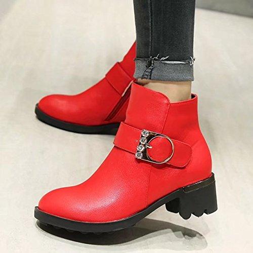 AIYOUMEI Damen Blockabsatz Stiefeletten mit Schnalle und Strass 5cm Absatz Ankle Boots Rot