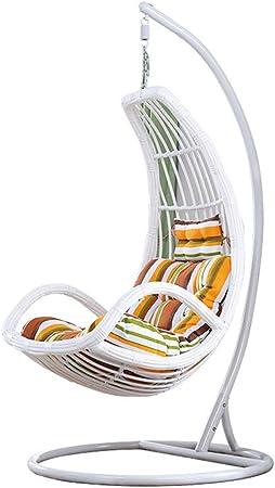 LEJZH Silla giratoria de ratán, Silla Colgante de Mimbre Impermeable, Hamaca para jardín con cojín, para Interiores o Exteriores,Blanco: Amazon.es: Hogar