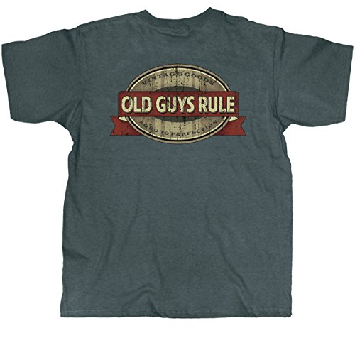 Old Guys Rule Mens Vintage Goods Aged To Perfect T-Shirt Large Charcoal (Good Gifts For Guy Best Friend)