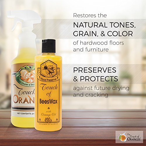 Orange Oil Wood Cleaner and Beeswax Furniture Polish, Restore Hardwood Floors, Cabinets, Tables, Antiques, Preserve and Protect with Touch of Oranges by Touch Of Oranges (Image #1)