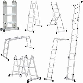 6 en 1 Escalera escalera multifunción multiusos Escalera aluminio Articulación regulable – Escalera escalera escalera escalera escalera Andamio trabajo Etapa hasta 150 kg, 3,6 m 12 peldaños con 2 placas Andamio: Amazon.es: Bricolaje y herramientas