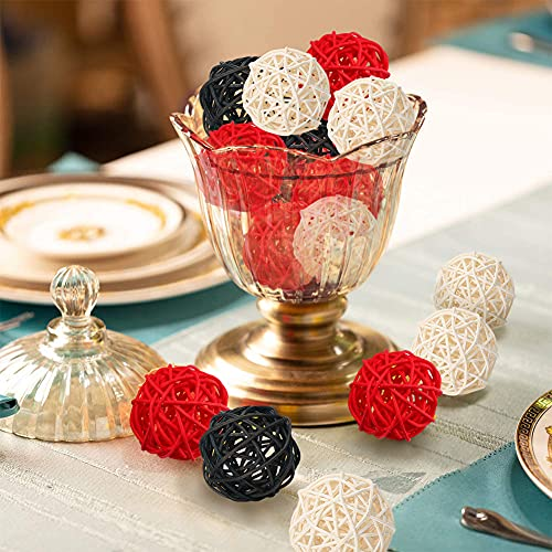 DomeStar Rattan Ball, 24PCS Orbs Vase Fillers (Red)