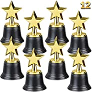 Star Trophy Awards - Pack of 12 Bulk - 4.5 Inch, Gold Award Trophies for Kids Party Favors, Props, Rewards, Wi
