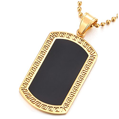 Steel Mens Gold Color Dog Tag Pendant Necklace Greek Key Pattern Black Enamel, 30 inches Ball Chain - Enamel Bead Chain
