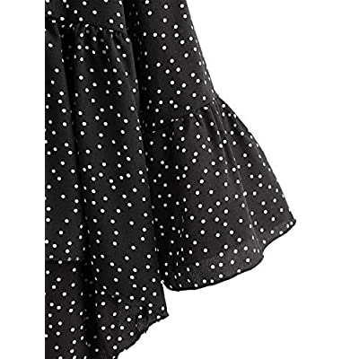 DIDK Women's Polka Dot Flounce Sleeve High Low Hem Peplum Blouse Shirt Top at Women's Clothing store