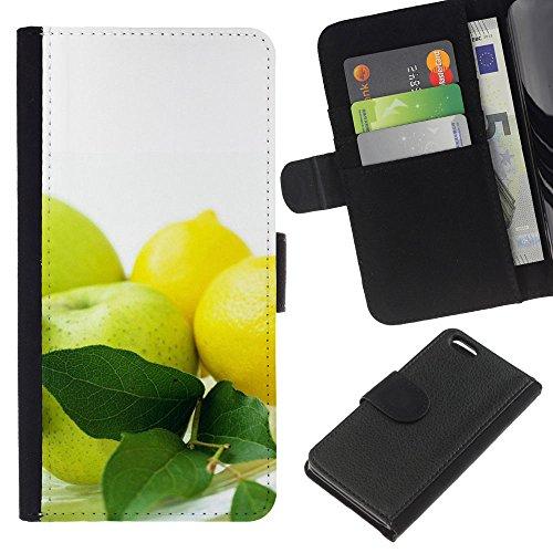 Lead-Star (Fruit Macro Apples & Lemons) Colorful Impression Holster Cuir Wallet Cover Housse Peau Cas Case Coque Pour Apple iPhone 5C