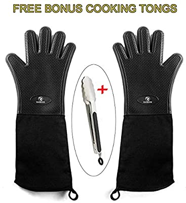 RAMBOOS Extreme Heat Resistant Oven Gloves - Non-Slip Silicone Insulated for Grilling/BBQ/Smoker/Baking/Outdoor and Indoor Cooking. Extra Long - Men/Women - One Size Black - Free Bonus Cooking Tongs