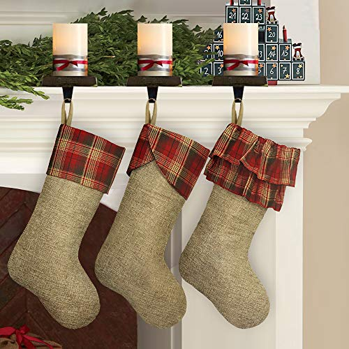 Ivenf Christmas Stockings, 3 Pcs 21 inches Burlap Extra Large Plaid Imitated Stockings, for Family Holiday Xmas Party Decorations