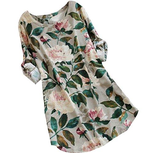 Coolred-femmes Manches Longues Encolure Ras Du Cou Robes De Printemps Floraux Fashional Beige Blanc