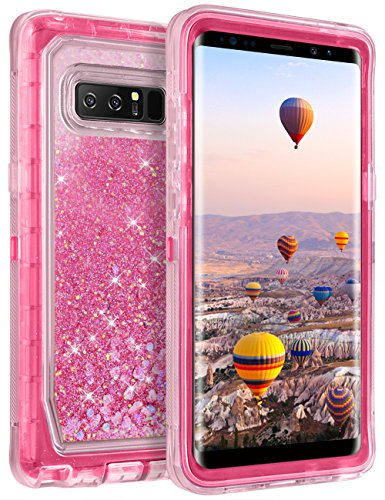 (Coolden Glitter Case for Galaxy Note 8 Case Cute Bling Sparkle Clear 3D Quicksand Cover Shockproof Bumper Dual Layer Anti-Drop PC Frame TPU Back Skin for 6.3 Inches Samsung Galaxy Note 8 (Pink))