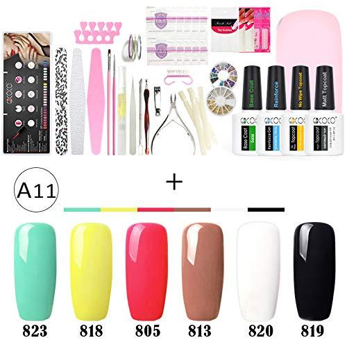 Extenstion Kit (Manicure Nail Art File Soak Off UV LED 8Ml Nail Gel Polish Kits With LED Lamp Decoration Rhinestone Nail Tools Brush Set A11)
