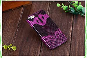 iPhone 5/5s Case, Deluxe Genuine Cobra Leather Case DeFaith Snake Skin Leather Back Cover Purple