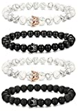 LOLIAS 4 Pcs Bead Couples Bracelet for Men Women Crown Queen Bracelet Adjustable 8MM Beads