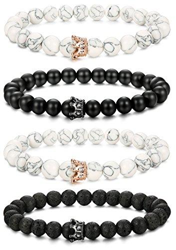 LOLIAS 2-4 Pcs Bead Couples Bracelet for Men Women Crown Queen Bracelet Black Matte Agate & White Howlite Bracelet Adjustable 8MM Beads