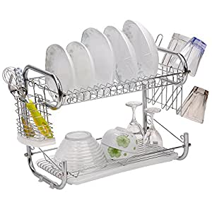 2 Tiers Dish Rack C Shape Kitchen Stainless Steel Dish Rack with Utensil Holder, Silver