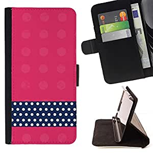 For Samsung Galaxy Note 4 IV Case , Modelo de punto Rosa Negro Blanco- la tarjeta de Crédito Slots PU Funda de cuero Monedero caso cubierta de piel