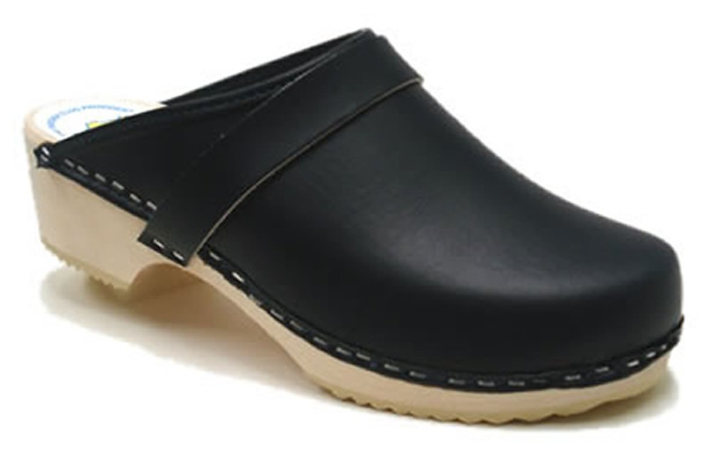 AM-Toffeln 100 Wooden Clog in Navy Leather - Size 35