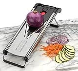 Mandoline Vegetable & Food Slicer, Stainless Steel with 5 V Blades for Julienne,grate,slice and Dice+ Bonus Recipe Ebook By Fit Kitchen