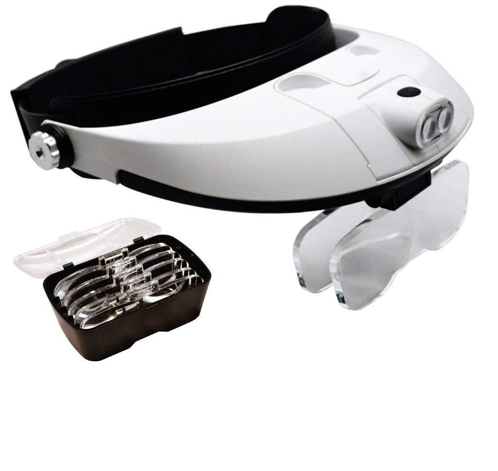 LY1122 5 Lens Head Visor Magnifier Binocular with 2 LED Lights Illuminating Headband by LY1122